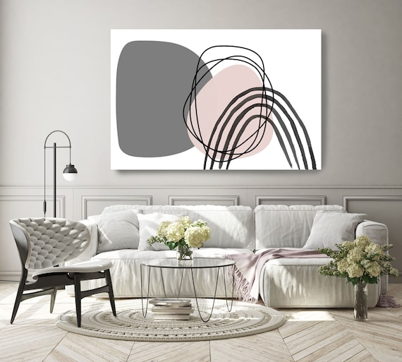 Minimalist Pink Gray Palette Line Art Modern Gray Pink Canvas Art Print Scandinavian print Minimalist abstract Wall decor Minimalist Art