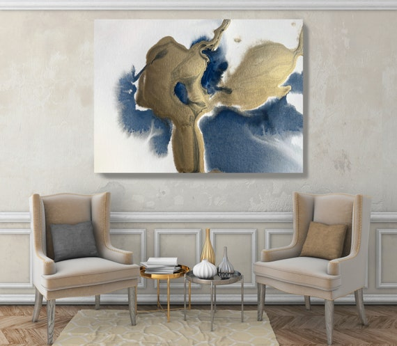 Gold in Blue Watercolor Abstract 7, Contemporary Gold Painting Large Wall Art Abstract Canvas Print Gold Teal Artwork for Home