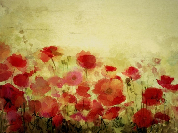 """Poppy field Provence landscape. Floral Painting, Red Abstract Art, Abstract Colorful Contemporary Canvas Art Print up to 72"""" by Irena Orlov"""