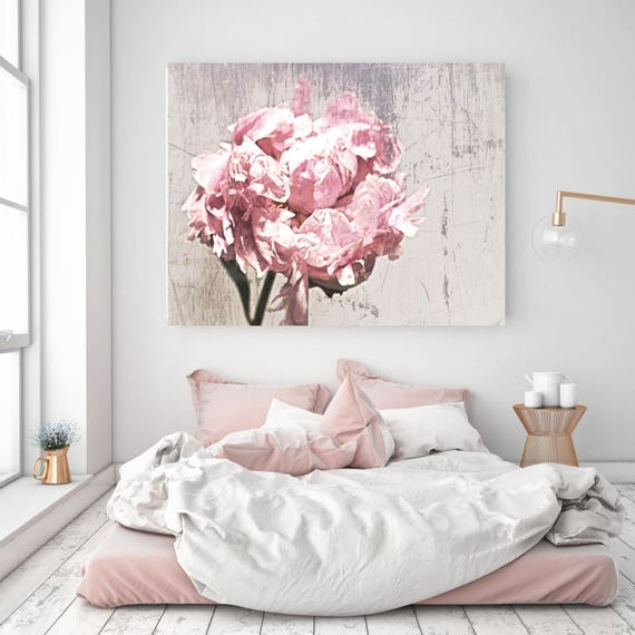 """Elegant Flower 12, Shabby Floral. Cottage Chic, Pink Gray Rustic Peony, Shabby Chic Canvas Art Print up to 72"""" by Irena Orlov"""