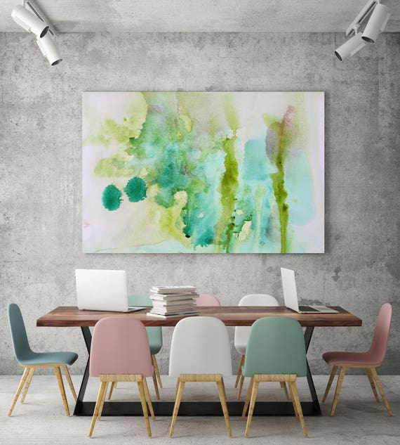 """Watercolor Coastal Abstract 40. Watercolor Abstract Green Blue Canvas Art Print, Abstract Green Blue Canvas Print up to 72"""" by Irena Orlov"""