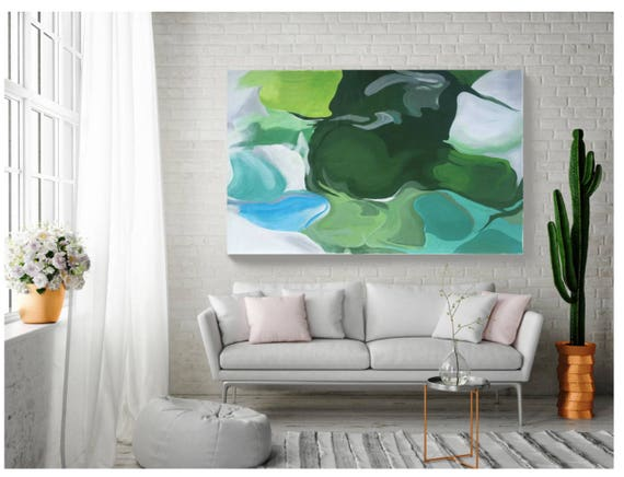 Studio SALE. Ode To Spring, Original Abstract Blue Green Oil on Unstretched Canvas, Original Contemporary Abstract  by Irena Orlov