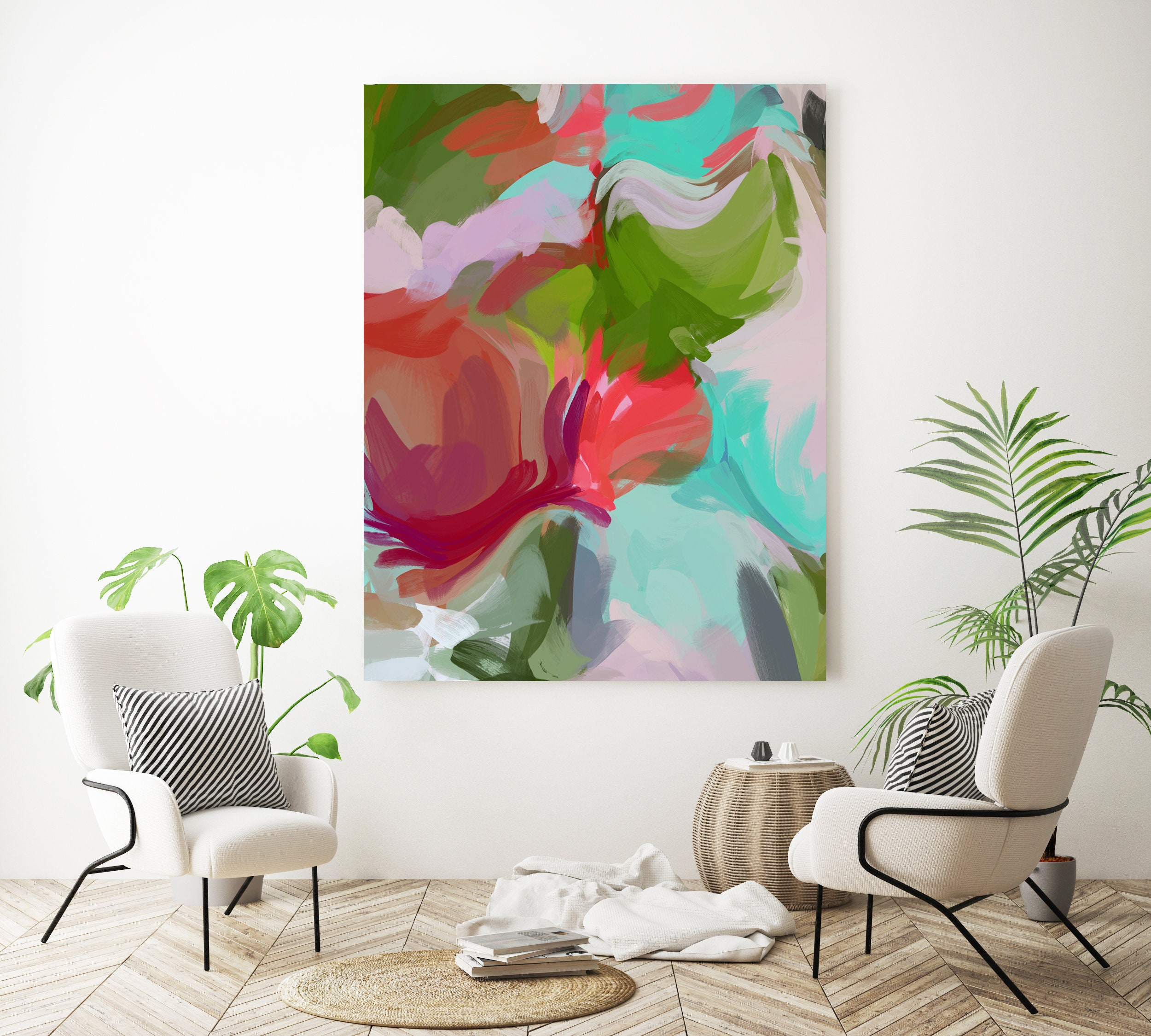 This Is Your Time Large Art Abstract Painting Red Green