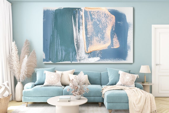 Calming Teal Pink Gold Silver Modern Abstract Wall Art Decor, Abstract Painting Canvas Print, Abstract Painting Art, Wall Art for Home