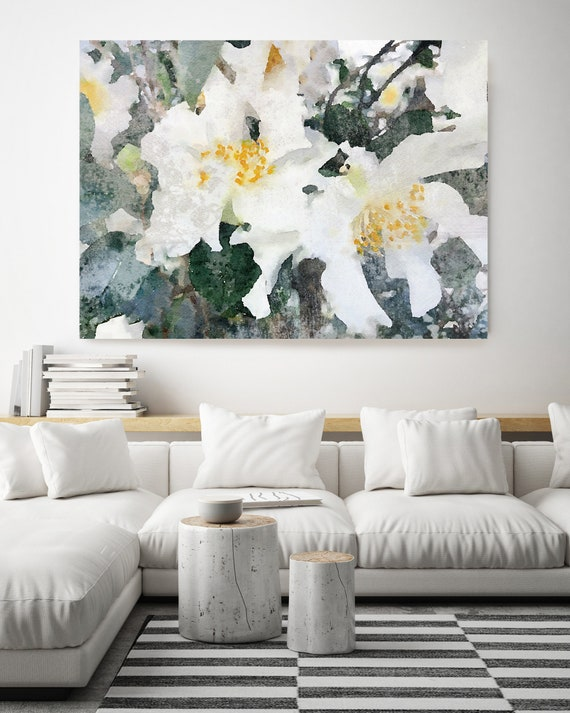 Floral Magic. Floral Painting, Modern, Contemporary, Floral, White , Watercolor Painting Canvas Print,  Rustic White
