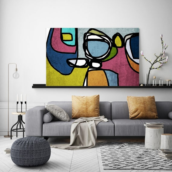 Mid Century Canvas Art, Canvas Print, Midcentury Modern, Abstract Art, Midcentury Canvas Print, Wall Art, Retro Home Decor, Vibrant Abstract