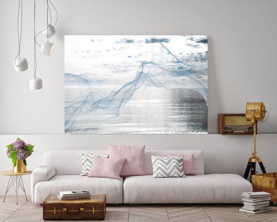 "ORL-11588-2 Silver ocean breeze 5. Extra Large Contemporary Blue Canvas Art Print, Seascape Abstract Canvas Art up to 80""  by Irena Orlov"