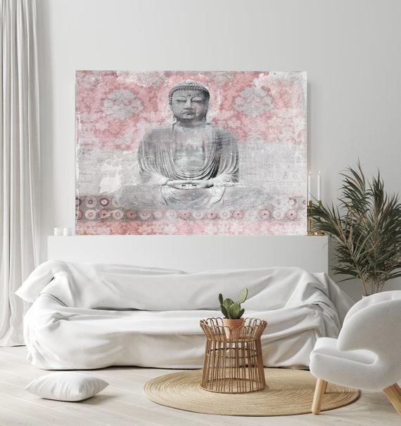 Blush Pink Gray Buddha Wall ART, Buddha Art Decor, Buddha Oversized Canvas Print