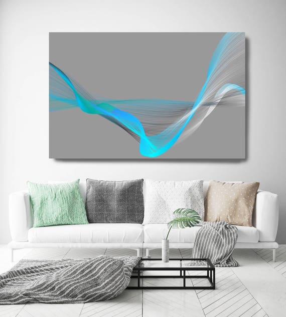 "Air Breeze 14. New Media Art Print, Abstract Blue Gray, Extra Large Abstract Gray Blue Contemporary Canvas Art Print up to 72"" Irena Orlov"