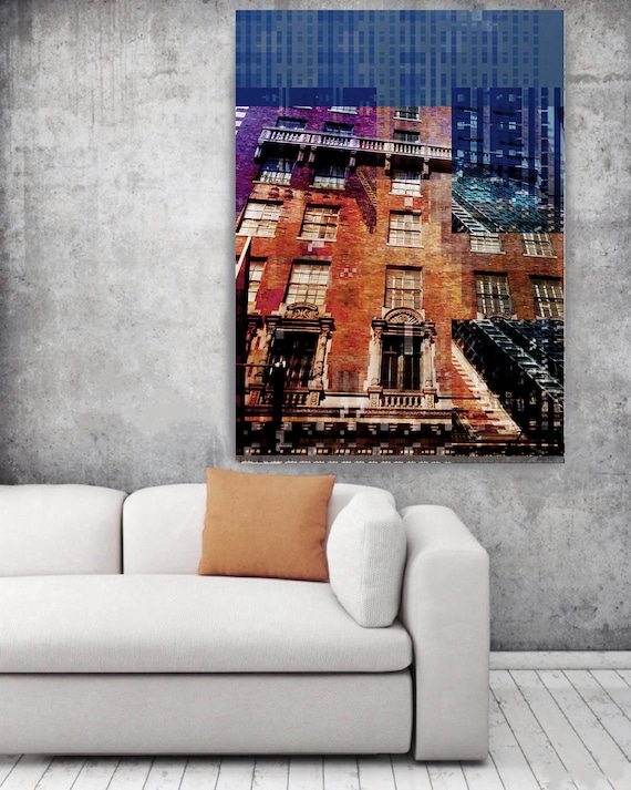 """Street Life 5, Large Architectural Cityscape Canvas Art Print. Rustic Brown Blue URBAN Canvas Art Print up to 72"""" by Irena Orlov"""