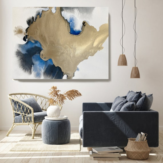 Gold in Blue Watercolor Abstract 4, Wall Art Decor Gold Abstract Painting Large Wall Art Abstract Canvas Print Gold Blue Artwork for Home