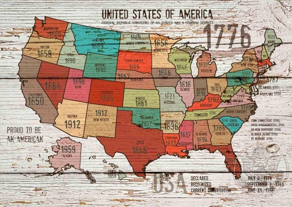 "The United States of America Map I up to 60"" . Canvas Print by Irena Orlov"