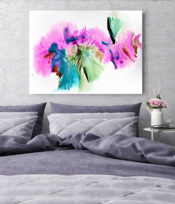 "Elegant feathers in green and purple 1, Pink Blue Feather Photography, Extra Large Feather Canvas Art Print up to 72"" by Irena Orlov"