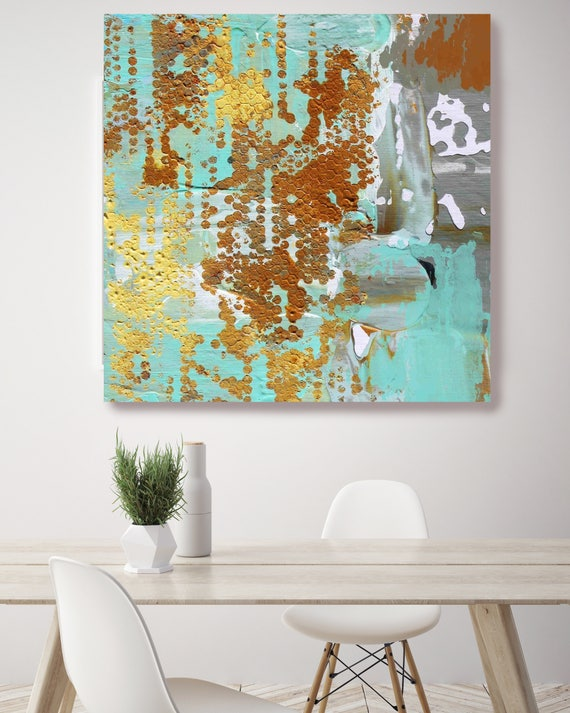 """Solar Stone. Green Brown Yellow Abstract Art, Extra Large Abstract Colorful Contemporary Canvas Art Print up to 48"""" by Irena Orlov"""