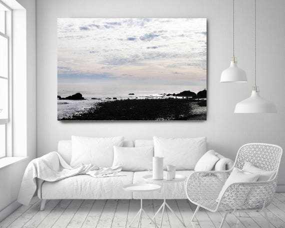 "Silver Ocean 29. Extra Large Water Canvas Art Prints up to 72"", Seascape Blue Pink Water Photography Print by Irena Orlov"