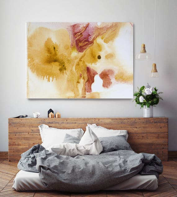 "Watercolor Coastal Abstract 50. Watercolor Abstract Brown Red Yellow, Watercolor Canvas Art Print up to 72"" by Irena Orlov"