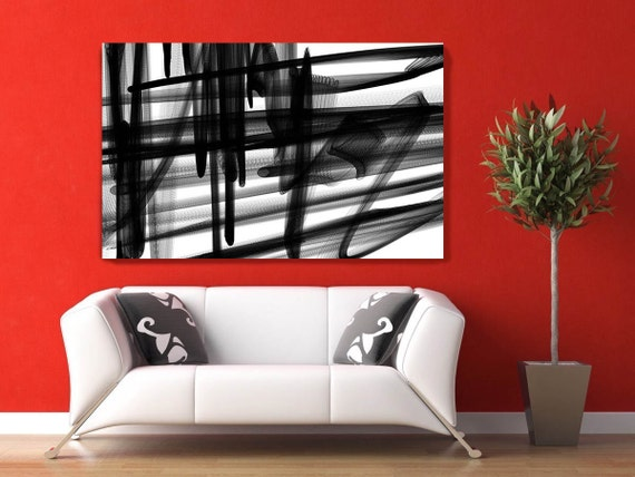 Large Wall Art, Black and White, Canvas Art, Wall Decor Over the Bed, Abstract Painting Print Large, Black and White Prints Horizontal, Art