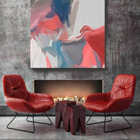 "Love is everywhere. Original Oil Painting on Canvas, Contemporary Abstract Blue, Red, Pink Trend Color Oil Painting up to 50"" by Irena Orlov"