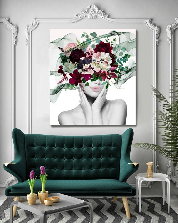 Woman Floral Portrait, Flower head woman Canvas Print, Sexy wall art, Heavenly Perfection, Floral Head Woman Print, Woman Fashion Art