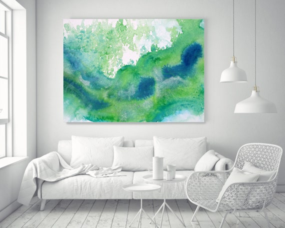 Green Waves Watercolor abstract splash 1. Contemporary Abstract Green Blue Canvas Art Print Emerald Green Abstract Watercolor Paintings