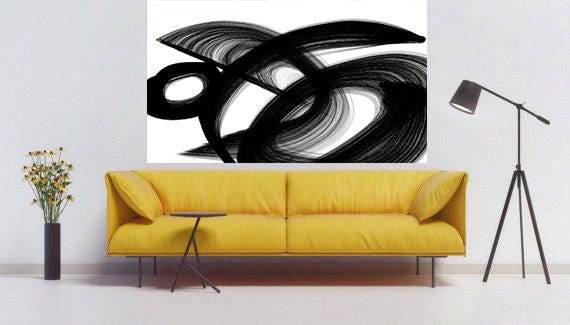 "Passage. Contemporary Abstract Black and White, Unique Abstract Wall Decor, Large Contemporary Canvas Art Print up to 72"" by Irena Orlov"