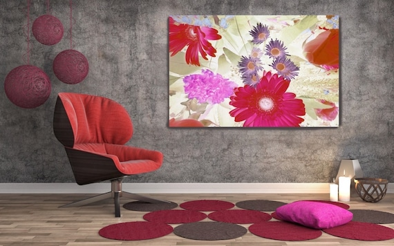 "A morning-glory. Floral Painting, Pink Red Green Abstract Art Large Abstract Colorful Contemporary Canvas Art Print up to 72"" by Irena Orlov"