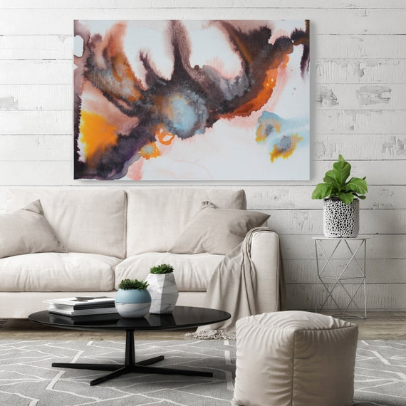 "Watercolor abstract splash 4. Watercolor Abstract Orange Brown Canvas Print, Extra Large Watercolor Canvas Art up to 72"" by Irena Orlov"