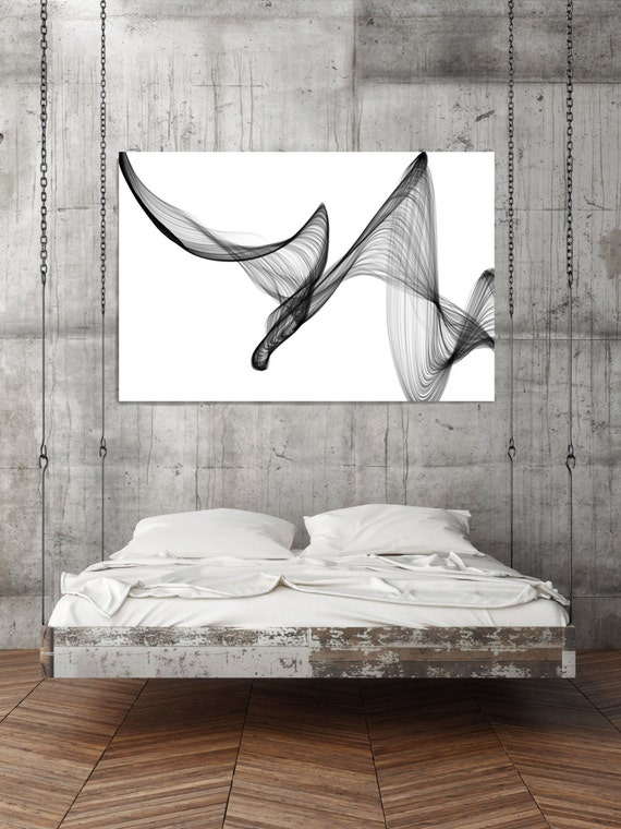 "ORL- 7391-1 Rhythm and Flow-22. Abstract Black and White, Unique Wall Decor, Large Contemporary Canvas Art Print up to 72"" by Irena Orlov"