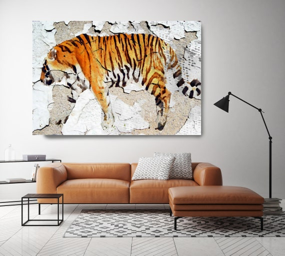 """Siberian Tiger . Extra Large Animal Canvas Art Print up to 72"""". Tiger wall decor. Orange Rustic Canvas Wall art, Large Tiger by Irena Orlov"""