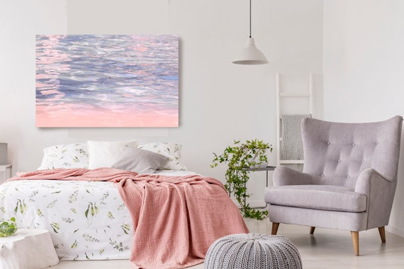 Beach Print, Pink and Purple Wall Canvas Print, Ocean Waves, Ocean Wall Art, Sea Water, Ocean Art, Water Photography