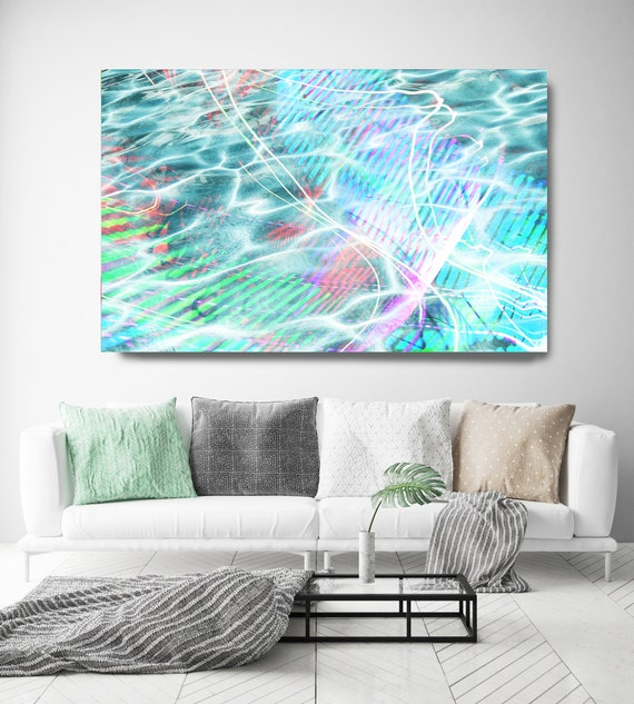 Blue Abstract Water Waves, Reflected Water, Canvas Art Print. Aqua Ocean Art, Jungle Art