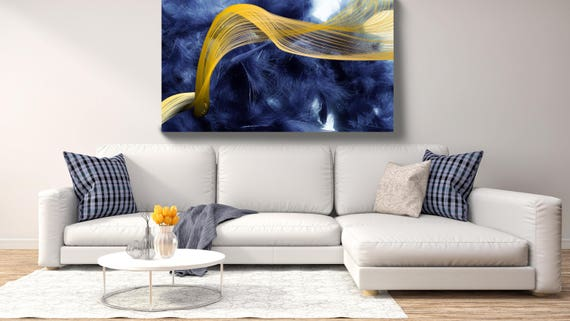 "Feather Breeze 30. Abstract New Media Art, Wall Decor, Extra Large Abstract Blue Yellow Canvas Art Print up to 72"" by Irena Orlov"