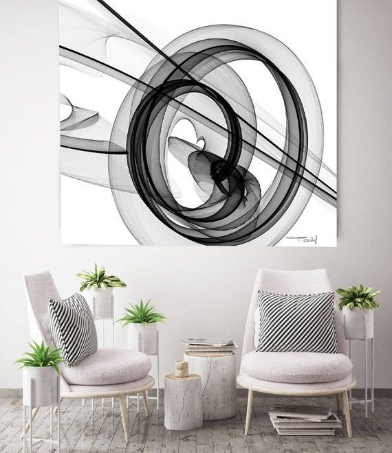 """Abstract Black and White 18-04-01. New Media Abstract Black and White Canvas Art Print, Canvas Art Print up to 50"""" by Irena Orlov"""