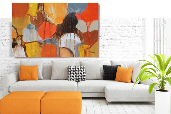 "Color shapes. Abstract Paintings Art, Wall Decor, Extra Large Abstract Red Orange Canvas Art Print up to 72"" by Irena Orlov"