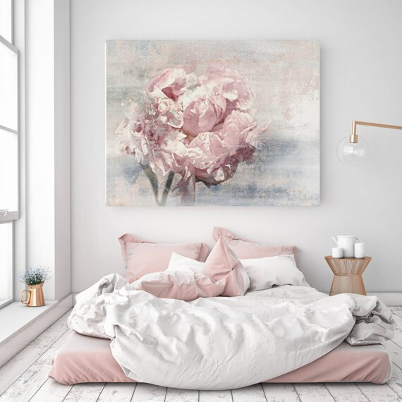"""Elegant Flower, Shabby Floral. Pink Blue Gray Rustic Peony, Shabby Chic Canvas Art Print up to 72"""" by Irena Orlov"""