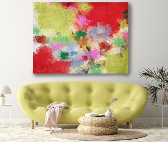 Art Abstract Painting, Red Green Abstract Painting, Contemporary Art, Hand Painted, Extra Large Canvas Print, Kaleidoscope N 6