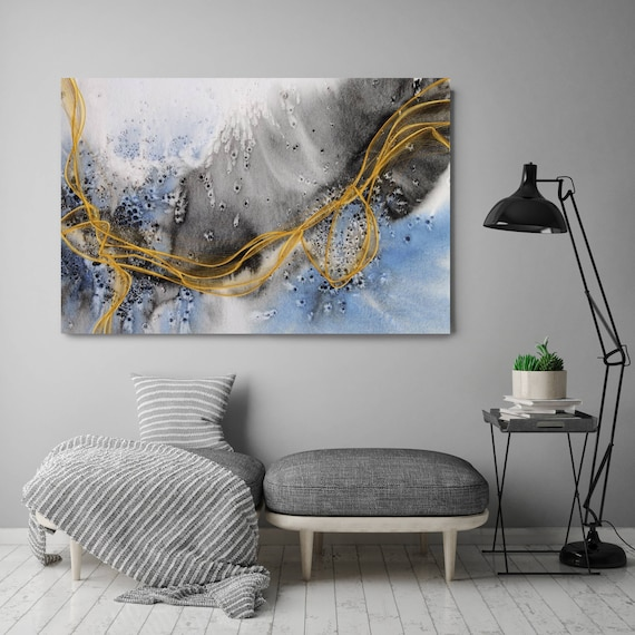 """Coastal Watercolor Abstract 126. Watercolor Abstract Blue Black Gold Canvas Art Print, Watercolor Painting Print up to 72"""" by Irena Orlov"""