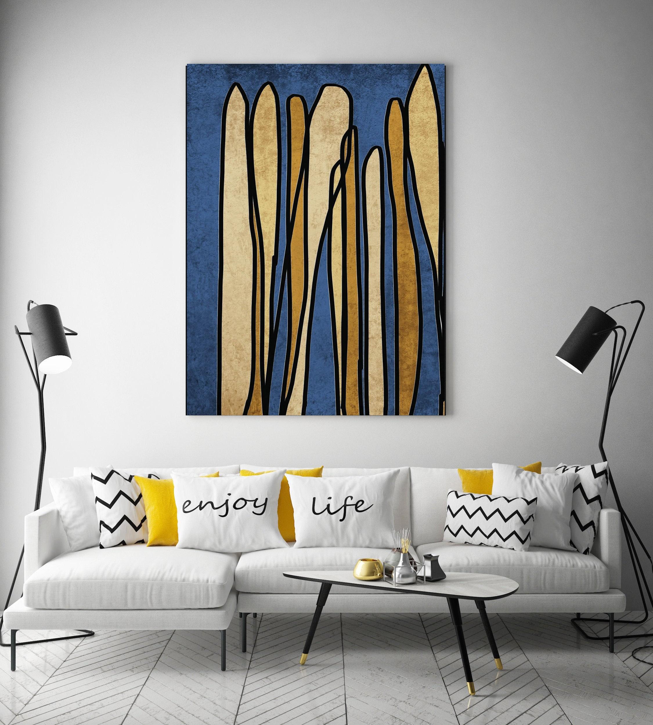 Line Art Modern Blue Gold Canvas Art Print Scandinavian print Minimalist abstract Wall decor Blue Black Minimalist Art Abstract Line Art 31