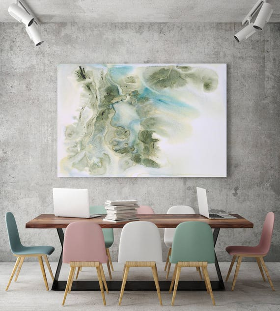 "Coastal Watercolor Abstract 148. Watercolor Abstract Blue Green Canvas Art Print, Watercolor Painting up to 72"" by Irena Orlov"