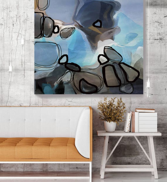 Balance in Blue. Blue Brown Abstract Art, Wall Decor, Large Abstract Colorful Contemporary Canvas Art Print Abstract Blue Painting