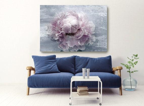 Blush Spring Peony 2, Shabby Pink Blue Rustic Peony Painting, Shabby Chic Blush Peony Painting Canvas Art Print Floral Print Blush Pink