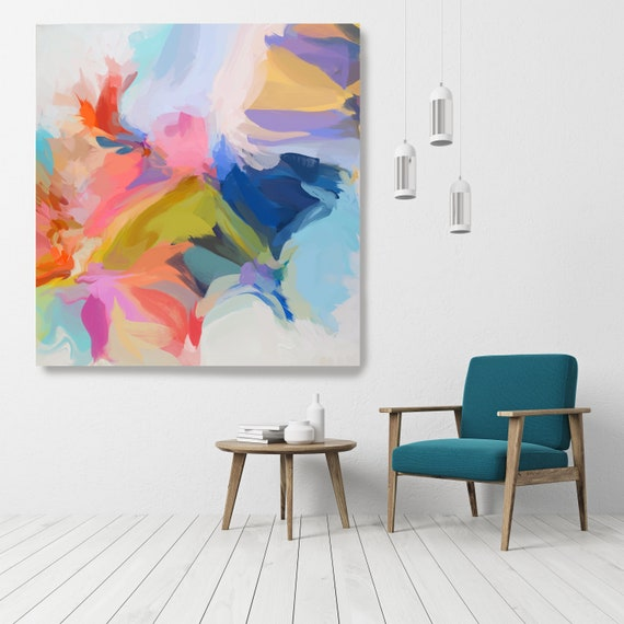 """Life Of Our Time, Art Abstract Print on Canvas up to 50"""", Green Red Blue Abstract Canvas Art Print by Irena Orlov"""