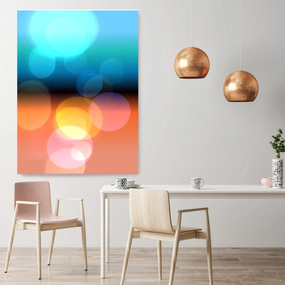 "Mysterious Light 69, Neon Orange Blue Yellow Pink Contemporary Lines Wall Art, Large New Media Canvas Art Print up to 72"" by Irena Orlov"