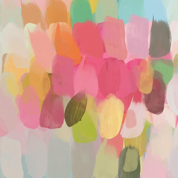 """ORL-6117-1-2 Perfect spring colors. Geometrical Abstract Art, Wall Decor, Large Abstract Colorful Canvas Art Print up to 48"""" by Irena Orlov"""