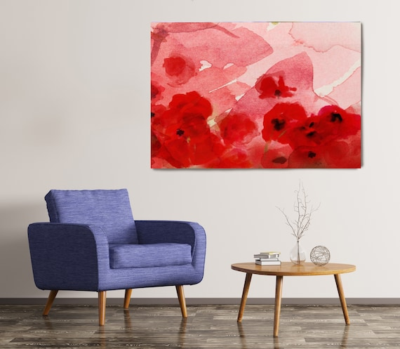 Watercolor Poppies. Floral Painting, Red Abstract Poppies, Wall Decor, Abstract Watercolor Poppies Painting, Poppies Canvas Print