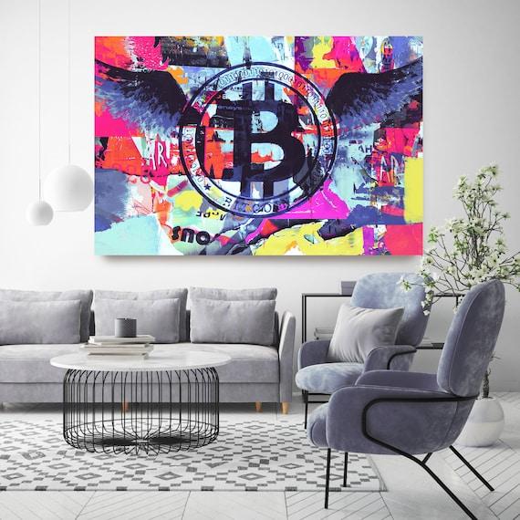 Cryptocurrency Bitcoin Graffiti Abstract Canvas, Cryptocurrency Bitcoin  Motivational canvas office art, Bitcoin Artwork Canvas Print