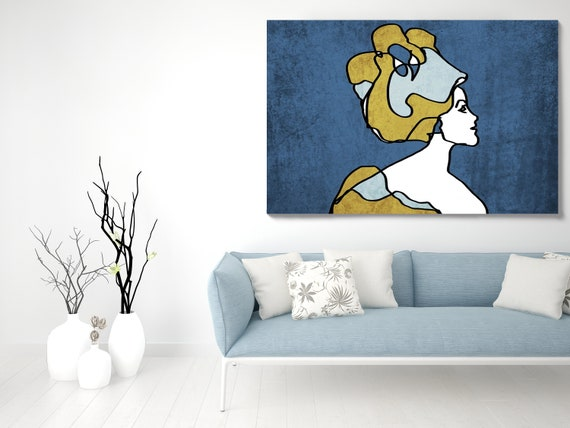 Woman face line art 1. Line Art Modern Blue Gold Canvas Art print Minimalist Figurative Wall decor Blue Yellow Minimalist Art