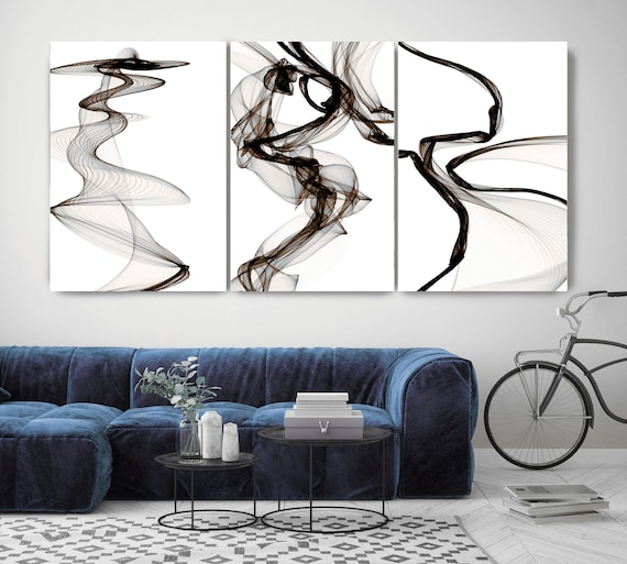 Black Brown Blue TRIPTYCH canvas prints -3 PANELS Stretched Canvas Wall Art, Canvas Art Print, Abstract Black Brown Blue Wall Decor