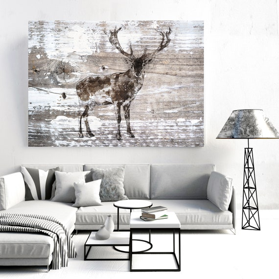 """Deer 4 Canvas Art Large Canvas, Wild Deer Canvas Art Print, Deer Painting Rustic Deer Wild Deer Wall Art Print up to 81"""" by Irena Orlov"""