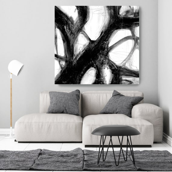 Extra large Abstract Painting Print on Canvas Black and White Wall Art, Art for Large Wall Home Decor Original Textured Painting on Canvas